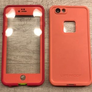 life proof fre iphone 6 plus case pink/green